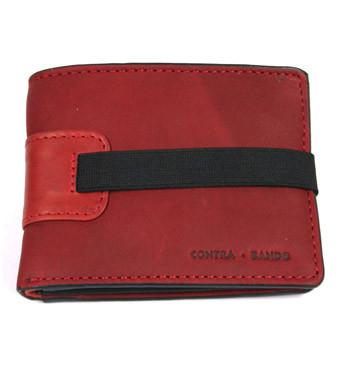 Cartera billetera tarjetero con monedero de piel color rojo con cierre de goma - comprar online precio 32€ euros