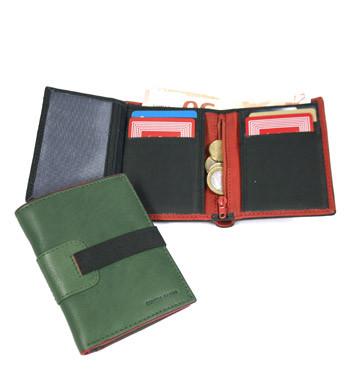 Cartera billetera tarjetero y monedero de piel con cierre de goma - comprar online precio 31€ euros