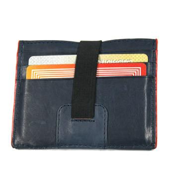 Cartera billetera tarjetero de piel con elástico color azul - comprar online precio 25€ euros