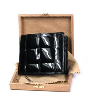 Cartera billetera tarjetero autentica piel de cocodrilo color negro - comprar online precio 399€ euros