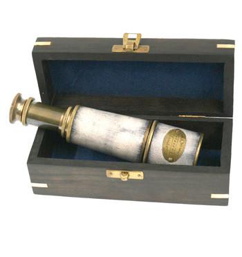 Réplica Catalejo con piel con caja de madera
