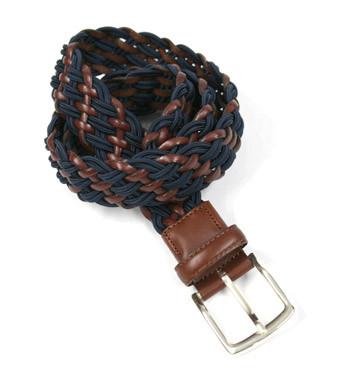 Cinturón elástico de piel marrón y textil azul marca Solohombre - comprar online precio 64€ euros