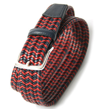 Cinturón elástico piel trenzada dos colores - comprar online precio 55€ euros