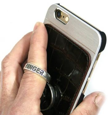 Funda para el iPhone 6 en piel con anilla de sujeción