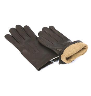 Guantes de piel marrón con forro de lana y cachemire - comprar online precio 72€ euros