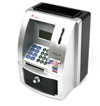 Hucha calculadora reloj cajero automático para monedas y billetes - comprar online precio 35€ euros