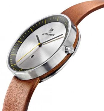 Reloj Strata de Jacob Jensen con caja de acero inoxidable y correa de piel