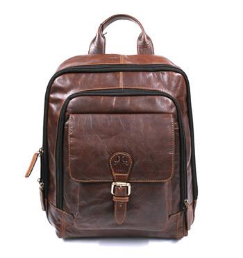 Mochila de trabajo piel envejecida color marrón con bolsillo frontal - comprar online precio 169€ euros
