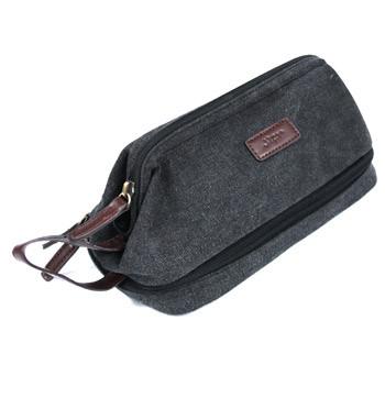 Neceser bolsa de aseo  de lona marrón con bolsillo en la base - comprar online precio 22€ euros