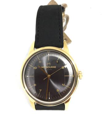 Reloj de pulsera dorado esfera negra con correa de piel marca Melbourne - comprar online precio 119€ euros