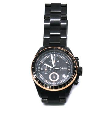 Reloj cronógrafo negro con detalles en color bronce - comprar online precio 150€ euros