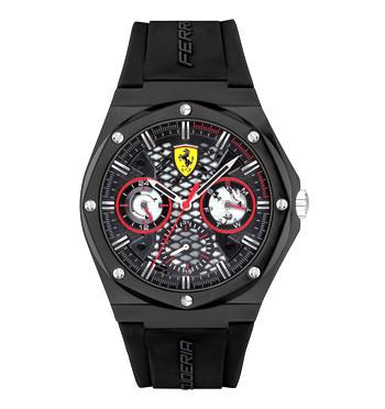 Reloj multifunción con esfera y correa negra marca Ferrari - comprar online precio 130€ euros