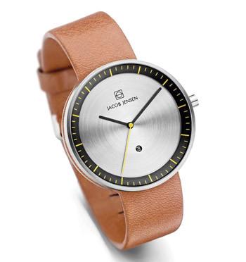 Reloj pulsera Strata de Jacob Jensen con caja de acero inoxidable y correa de piel - comprar online precio 189€ euros