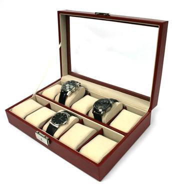Relojero caja para guardar 10 relojes en polipiel marrón o negra - comprar online precio 65€ euros