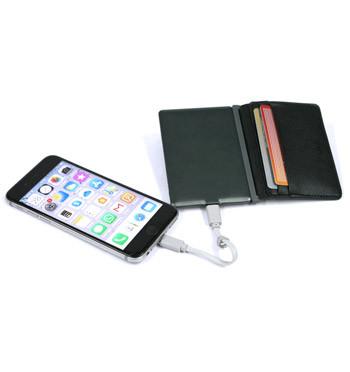 Tarjetero de piel reciclada con Powerbank integrado, protección RFID y batería externa - comprar online precio 69€ euros