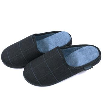 Zapatillas ¡comodisimas! de estar por casa de invierno destalonadas grises con dibujo de cuadros azul - comprar online precio 32€ euros