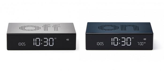 Reloj despertador Off/On de aluminio con carga USB