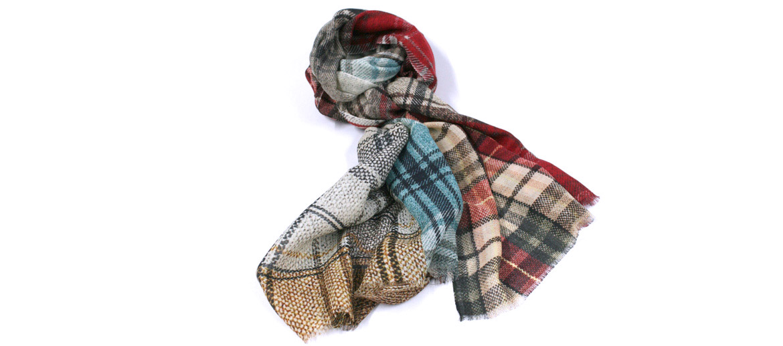 Foulard de lana fina con dibujo de cuadros ¡muy suave! - comprar online precio 65€ euros