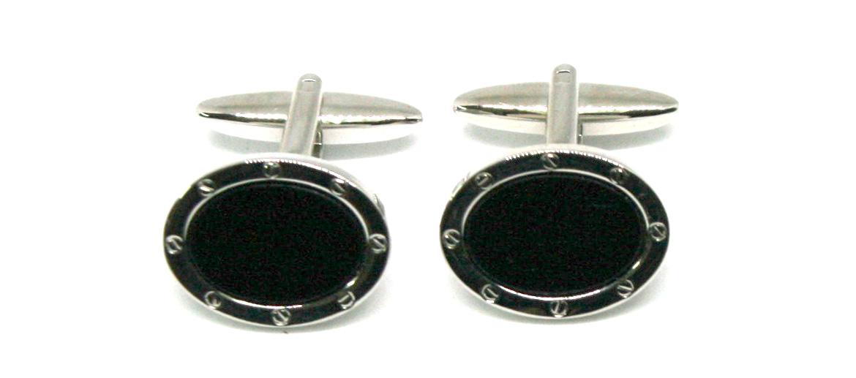 Gemelos camisa ovalados de rodio y piedra negra para eventos o ceremonia - comprar online precio 39€ euros