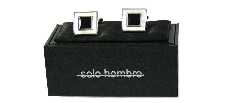Gemelos de rodio con piedra de nacar y piedra negra - comprar online precio 45€ euros