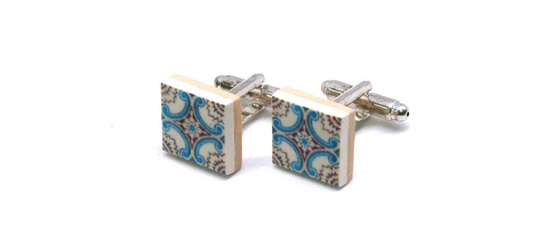 Gemelos de camisa ¡originales! con motivo de azulejo hidráulico color celeste - comprar online precio 39€ euros
