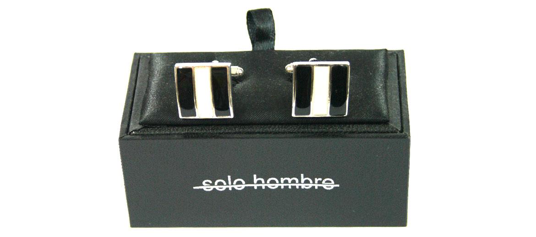 Gemelos de rodio y esmalte negro y blanco para eventos o ceremonia - comprar online precio 45€ euros