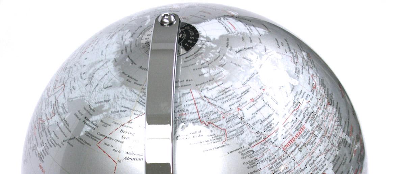 Globo Terráqueo  25cms Gris metalizado - Comprar online Precio 70€ euros