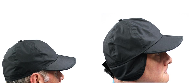 Gorra con visera y orejeras impermeable color negro también plegable - comprar online precio 69€ euros