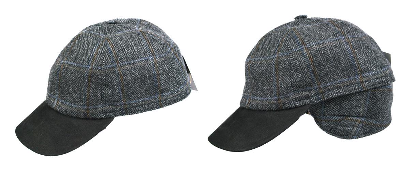 Gorra de béisbol en lana con visera de piel marrón y orejeras - comprar online precio 69€ euros