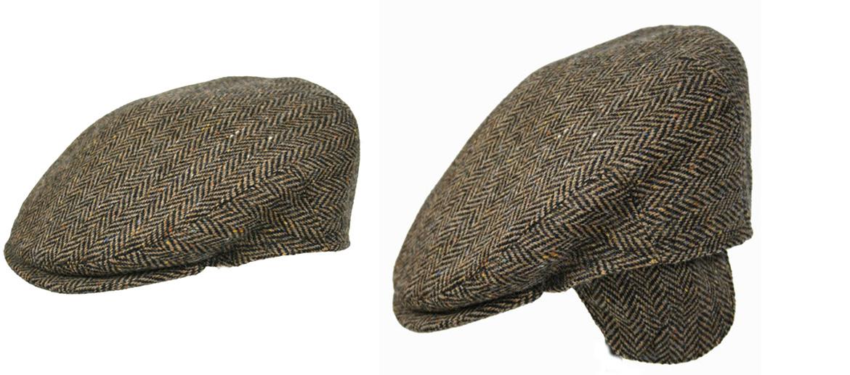 Detalles. Gorra plana de lana con orejeras y dibujo en espiga a tonos beige  y marrón - 6b783d96702