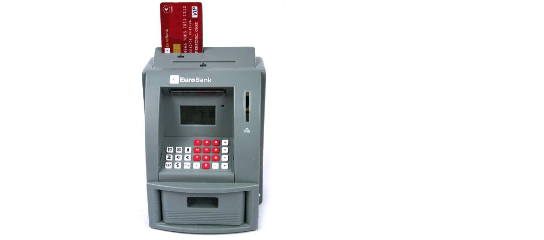 Hucha calculadora reloj cajero automático para monedas y billetes - comprar online precio 30€ euros