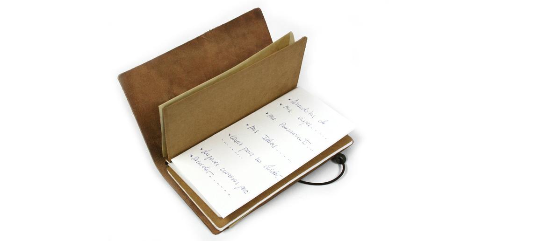 Libreta cuaderno con tapas de piel para viajes - comprar online precio 49€ euros