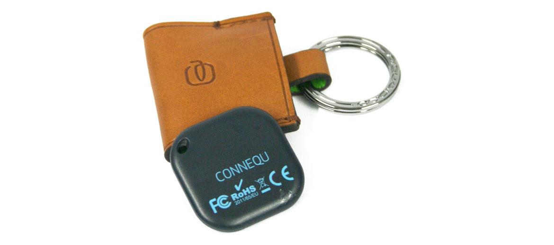 Llavero antipérdida en piel para llaves o equipajes con dispositivo Connequ color beige - compar online precio 48€ euros