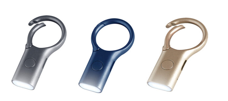 Llavero con luz de led de carga por USB color dorado - comprar online precio 20€ euros