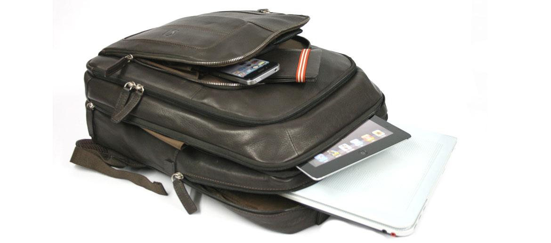 Mochila de trabajo con ¡mucha capacidad! de piel marrón - comprar online precio 195€ euros