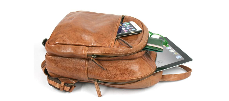 Mochila de trabajo piel envejecida color habana - comprar online precio 170€ euros