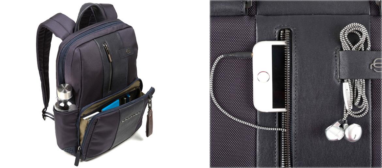 Mochila pequeña urbana y de vestir color azul marca Piquadro - comprar online precio 235€ euros