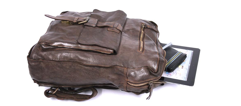 Mochila vintage de piel lavada color marrón - comprar online precio 195€ euros