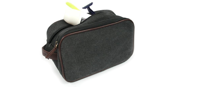 Neceser bolsa de aseo de lona color marrón - comprar online precio 25€ euros