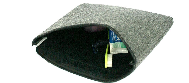 Neceser bolsa de aseo en lana sencillo con dibujo de espiga color gris - Comprar online Precio 19€ euros