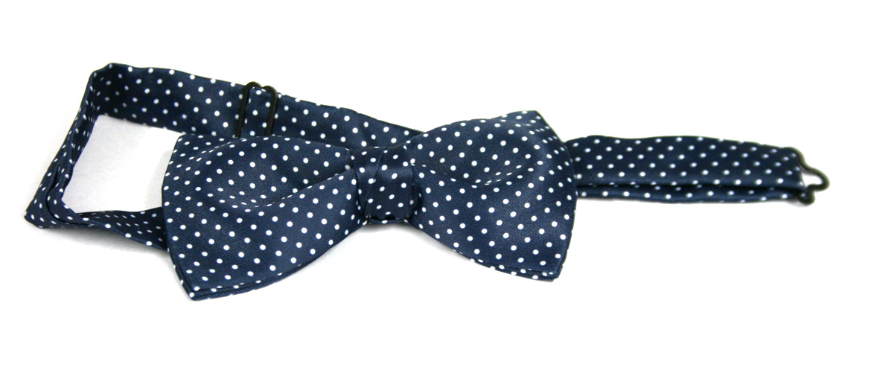 Pajarita de seda natural azul mota blanca - comprar online precio 28€ euros