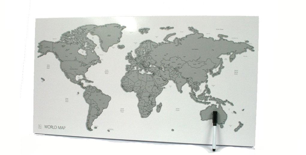 Panel pizarra de pared inmantado con el mapa mundi - comprar online precio 52€ euros