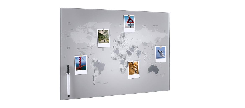 Panel pizarra imantado de pared con el mapa mundi - comprar online precio 49€ euros