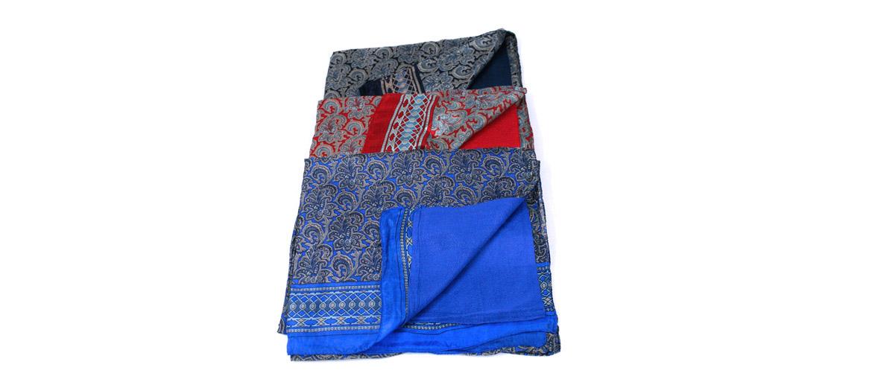 Pañuelo foulard de seda y viscosa doble cara con dibujo de cachemir - comprar online precio 39€ euros