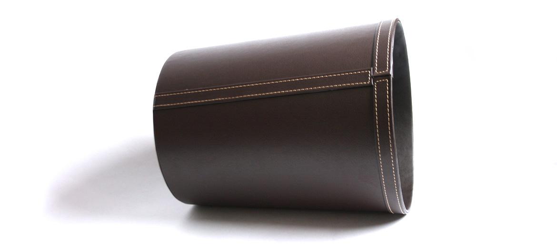Papelera de efecto piel color marrón - comprar online precio 45€ euros