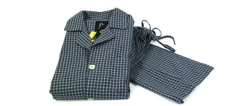 Pijama de algodón azul cuadro vichy blanco - comprar online precio 70€ euros