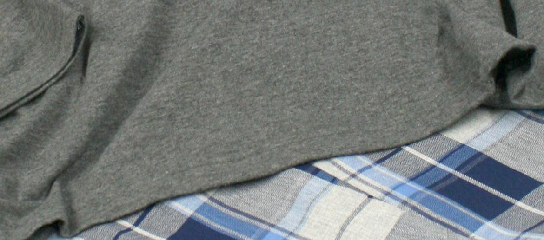Pijama de algodón con camiseta de punto y pantalón de tela para el invierno - Solohombre