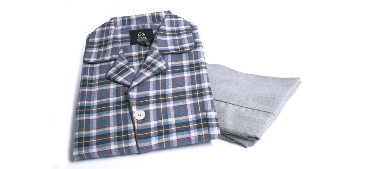 Pijama para el invierno chaqueta cuadros pantalón liso - comprar online precio 70€ euros