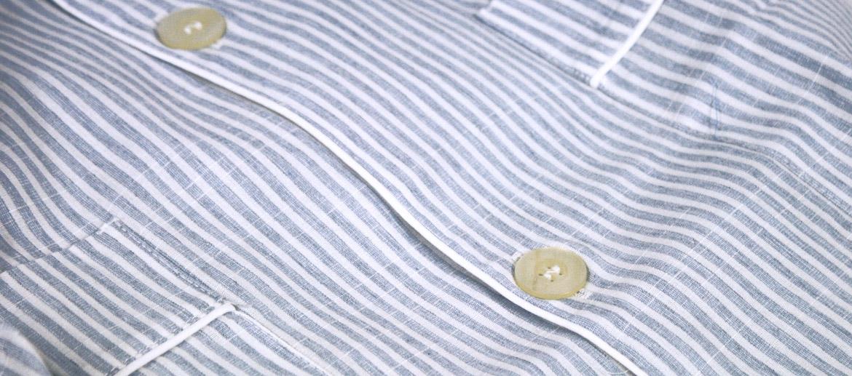 Pijama de algodón a rayas en azul claro para el verano - comprar online precio 59€ euros
