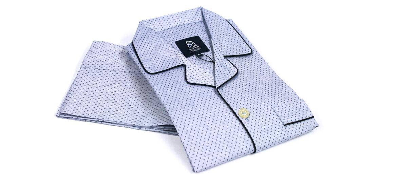 Pijama para invierno de algodón con vivos en azul marino - comprar online precio 72€ euros